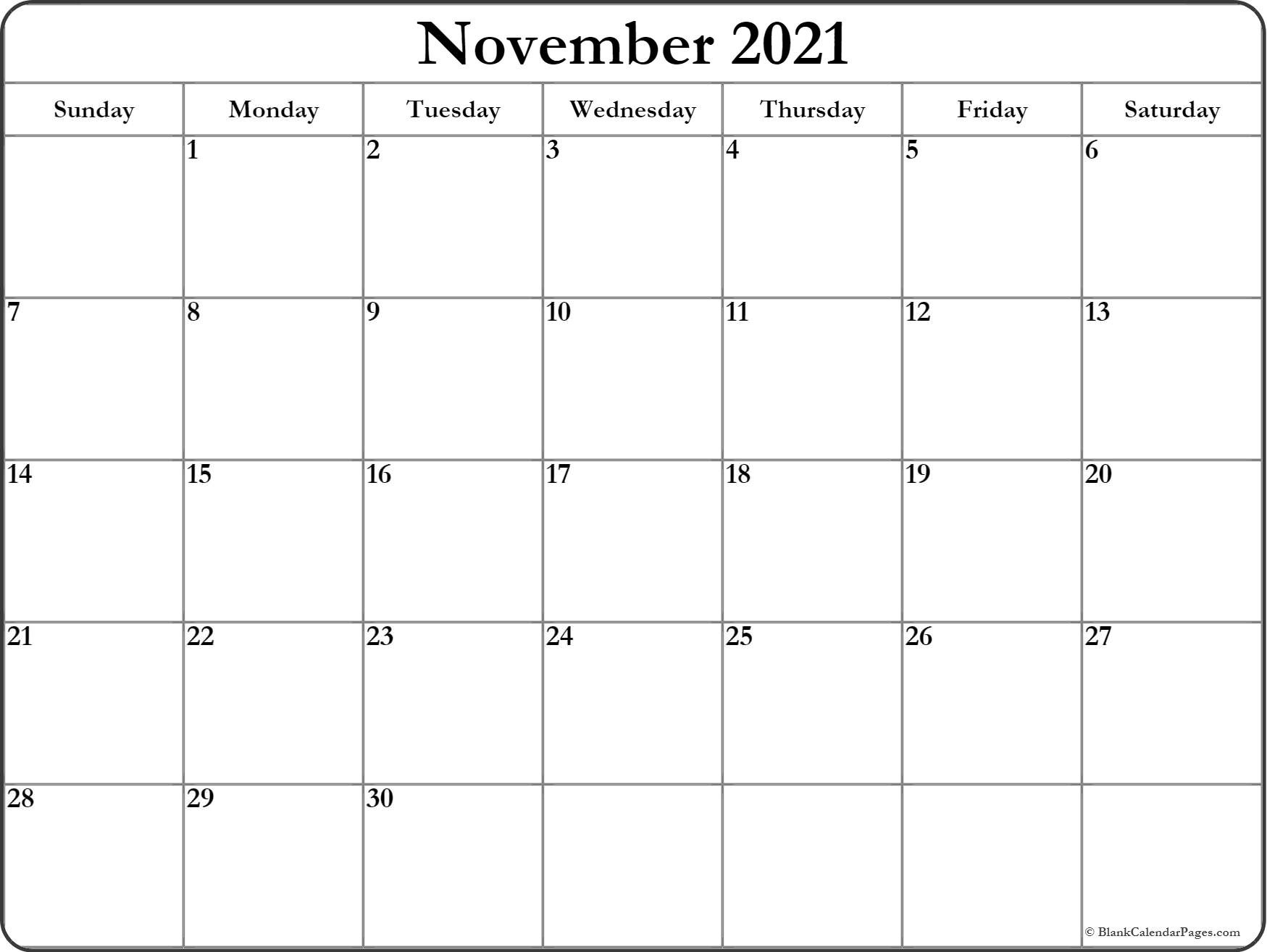 2021 Free Printable Calendars Without Downloading November ...