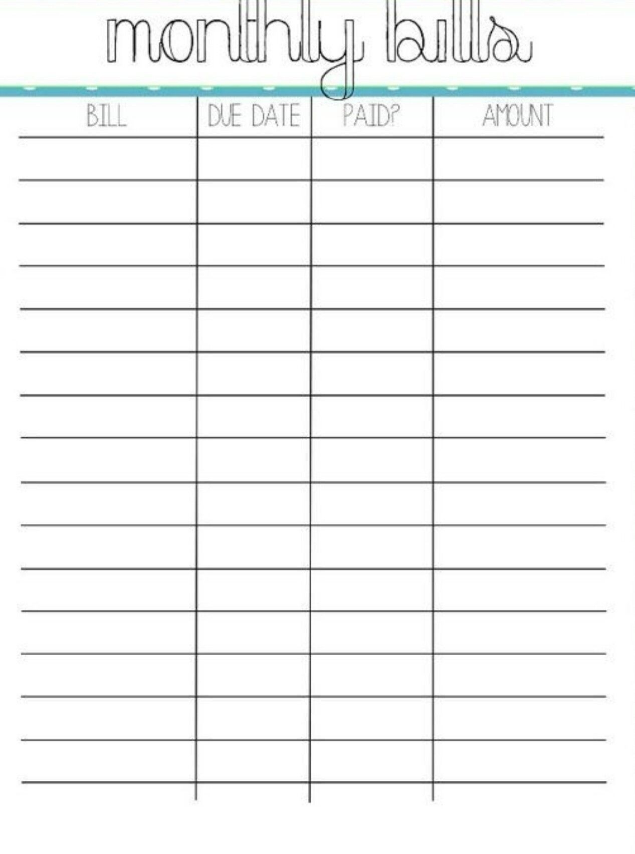 Monthly Pay Bills Worksheet Template Calendar Design