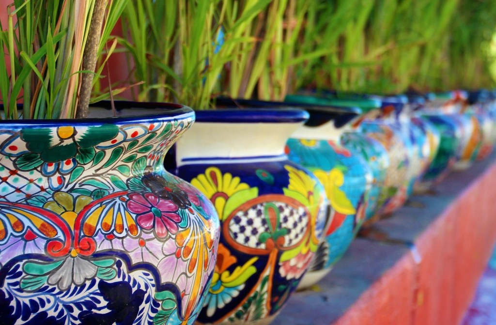 Mexican Pottery On Display In Cabo San Lucas