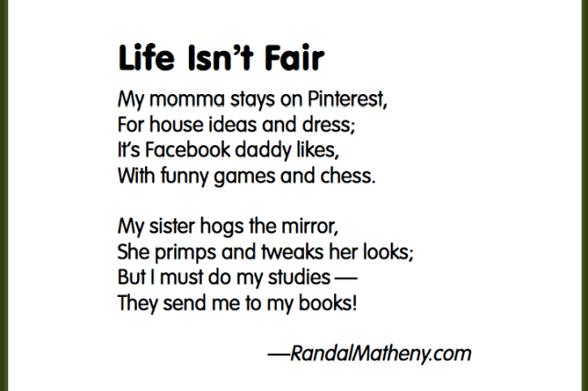 Kid's poem: Life Isn't Fair