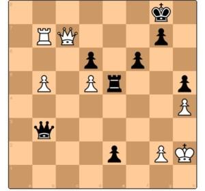 Schachrätsel, Schwarz am Zug gewinnt.