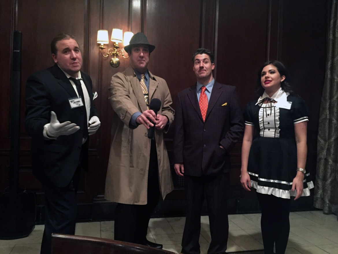 """The paid actors, playing """"the butler,"""" """"Detective P. Ness,"""" """"Reginald Sawbucks"""" and """"Maid Luna Tick."""""""
