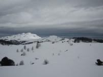 Paysage, vue sur le plateau (au fond à droite, le refuge du Chioula sous la neige). Alt. 1600