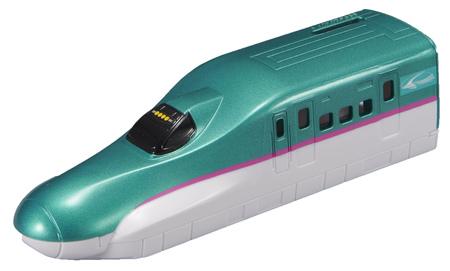 プラレール「にぎやかアナウンス!サウンドE7系新幹線かがやきレールセット」 レイアウト例 E5系新幹線はやぶさ 先頭車ボディ