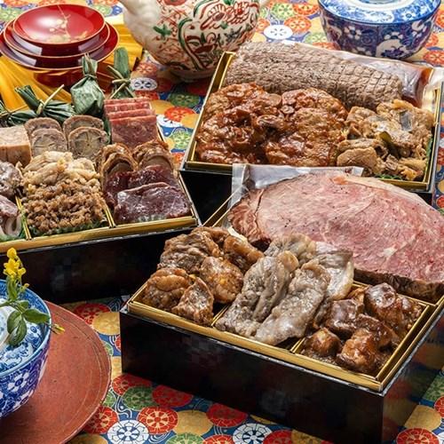 博多久松 厳選豪華オードブルおせち 肉づくし重 6.5寸3段重 全18品