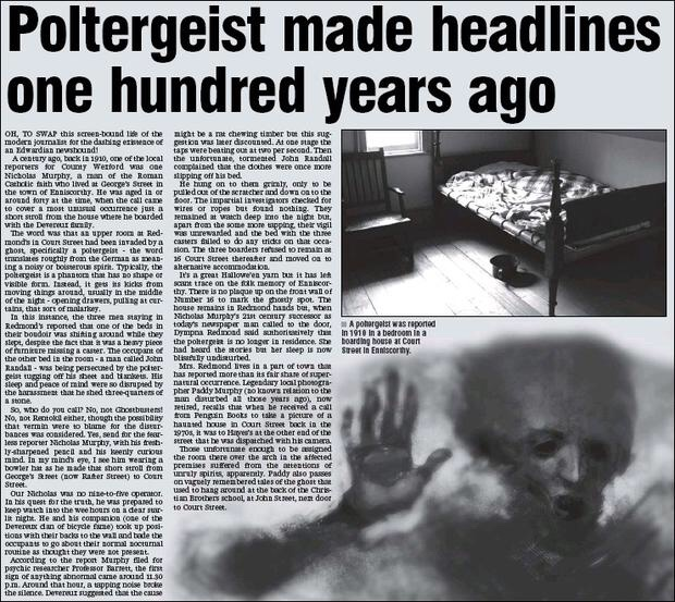 An Irish (true) story: the Enniscorthy poltergeist