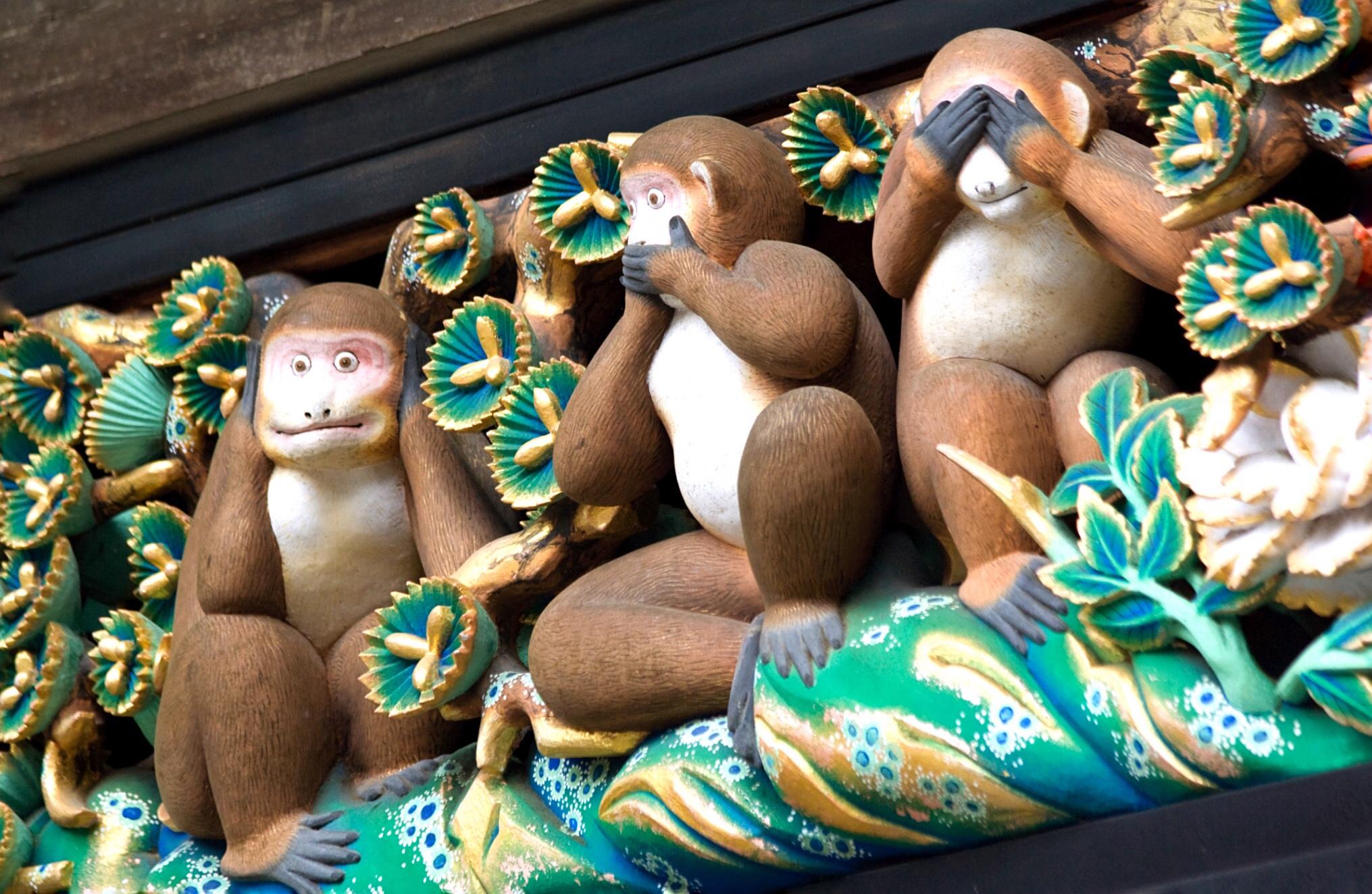 The Three Wise Monkeys of Tōshōgū Shrine in Nikko, Japan