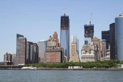A cityscape view from the water taxi. See the new Freedom Towers under construction?
