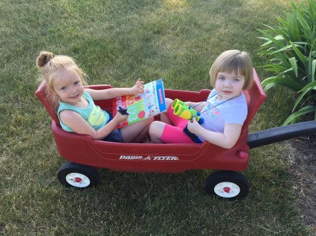 Wagon ride with Evie!