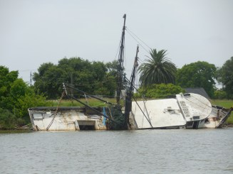 A sunken shrimp boat off the shore while sailing.