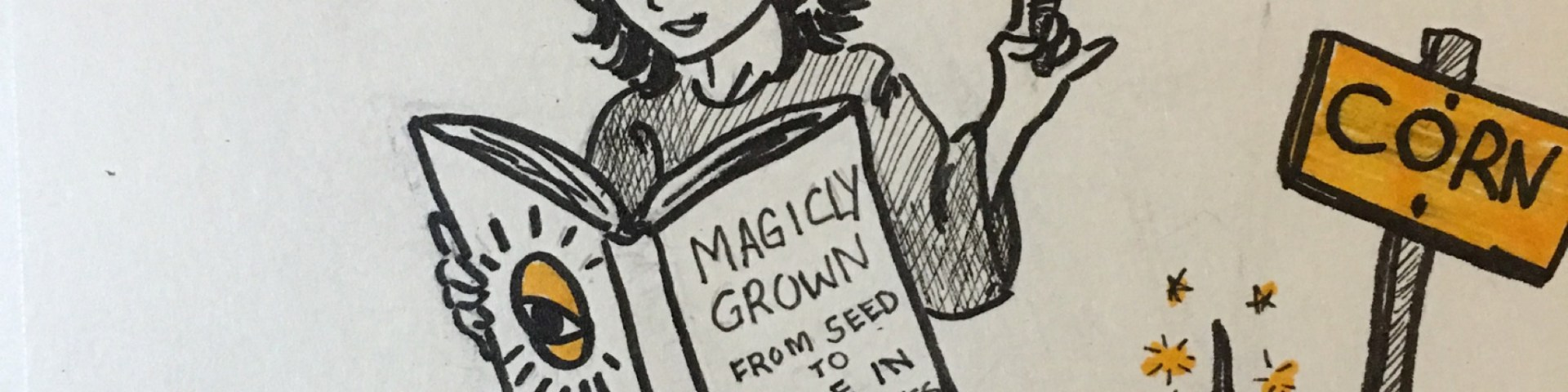 Young witch sits by freshly planted corn seed with place mat and table setting. He is reading a book titled from seed to table in 10 minutes