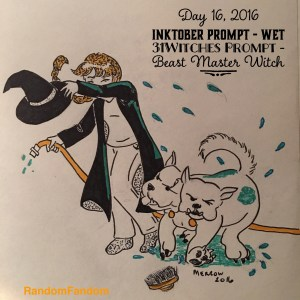 A vet witch holds a hose in one hand shields herself from a three headed dog shaking itself from water.