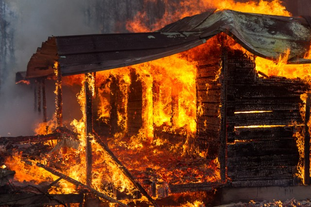 a porch in flames