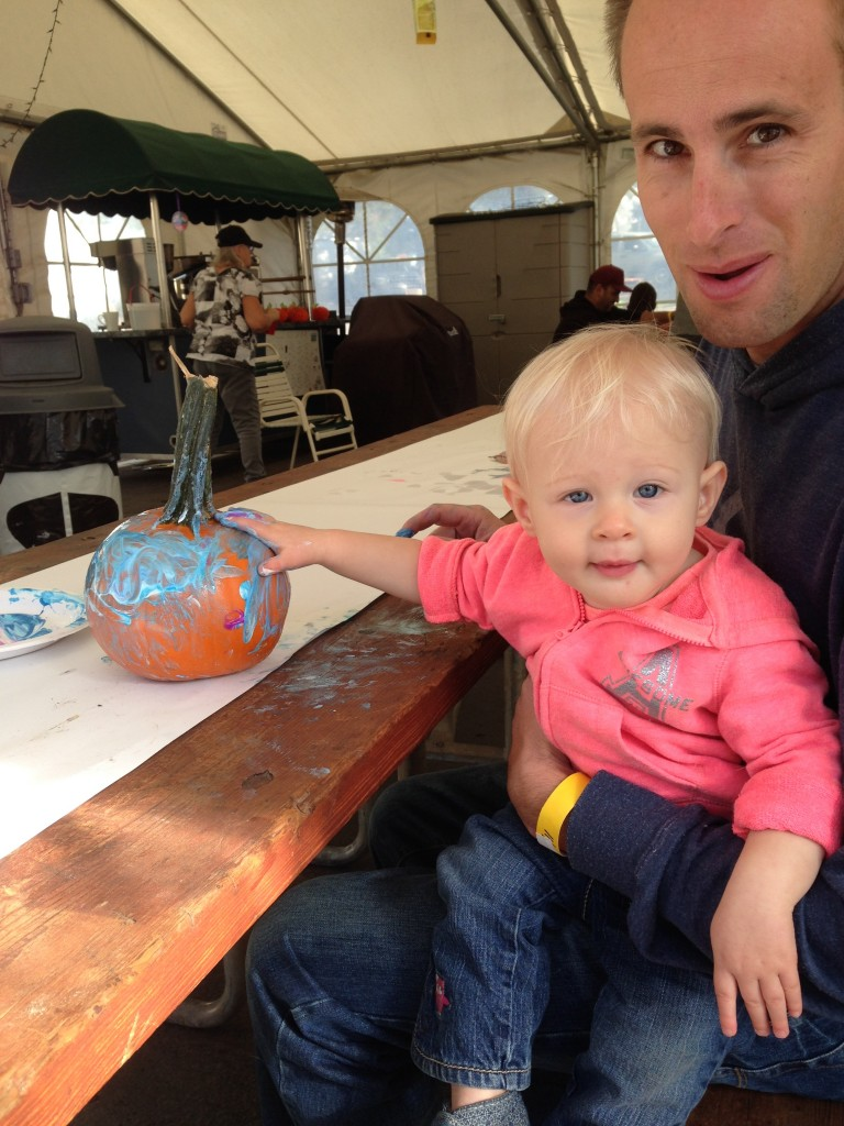 Painting a pumpkin at the KOA campground in Petaluma