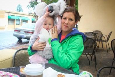 Having coffee with mom on the corner in Healdsburg.