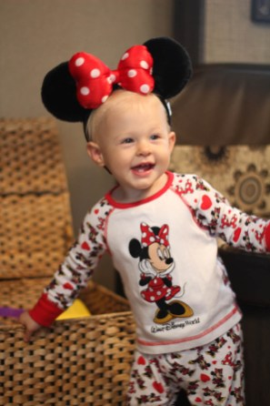 Ry showing off her Mini Mouse Ears and Pjs