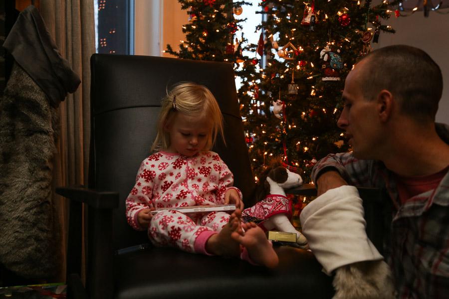 Dad and Ry, Christmas morning