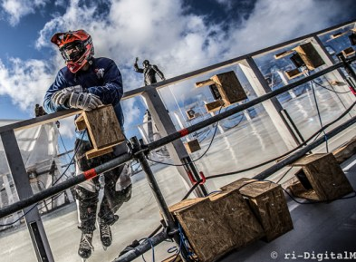 Photograph of skater in taking part in Red Bull Crashed Ice challenge in Belfast.