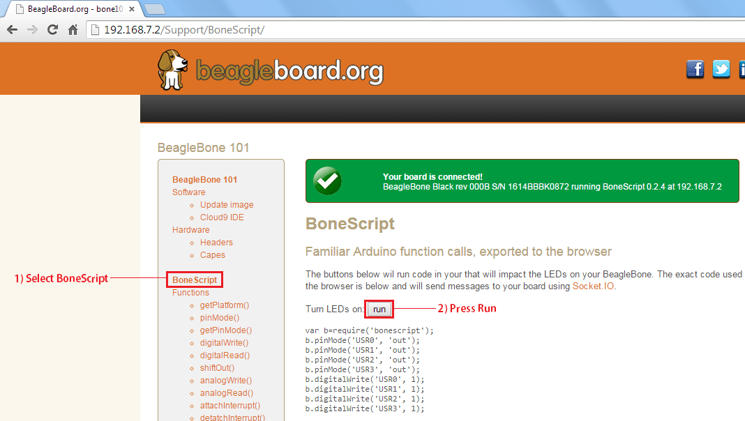 Getting started with the beaglebone black random nerd tutorials you should see a new web page with a green box at the top that says your board is connected that web page is being hosted by your beaglebone black fandeluxe Choice Image
