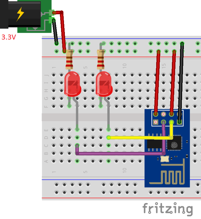 ESP-01 Schematic Control LEDs Web Server