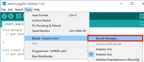 Arduino IDE boards manager