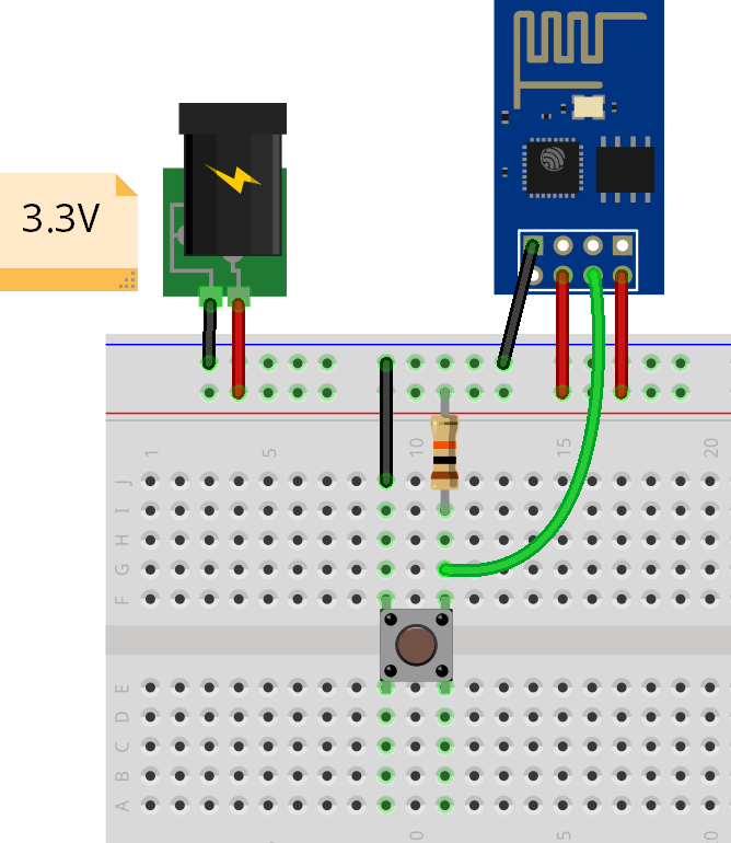 ESP8266 ESP-01 External Wake Up Circuit Schematic Diagram