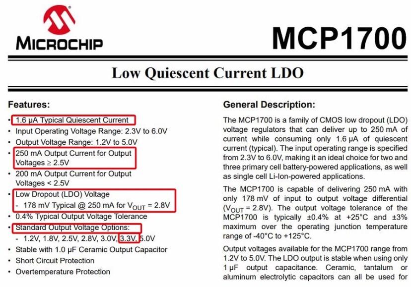 MCP1700 Datasheet LDO Low-dropout Voltage Regulator