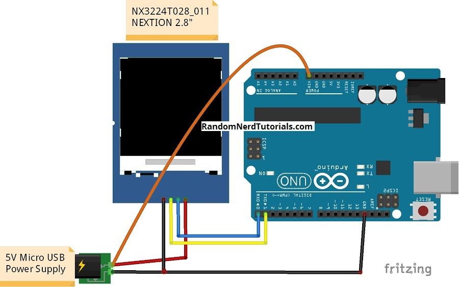 Nextion display with arduino getting started random nerd tutorials heres the schematic you need to follow to wire the display to the arduino fandeluxe Gallery