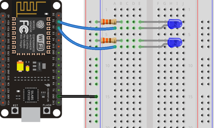 ESP8266 NodeMCU Schematic Control LEDs Web Server