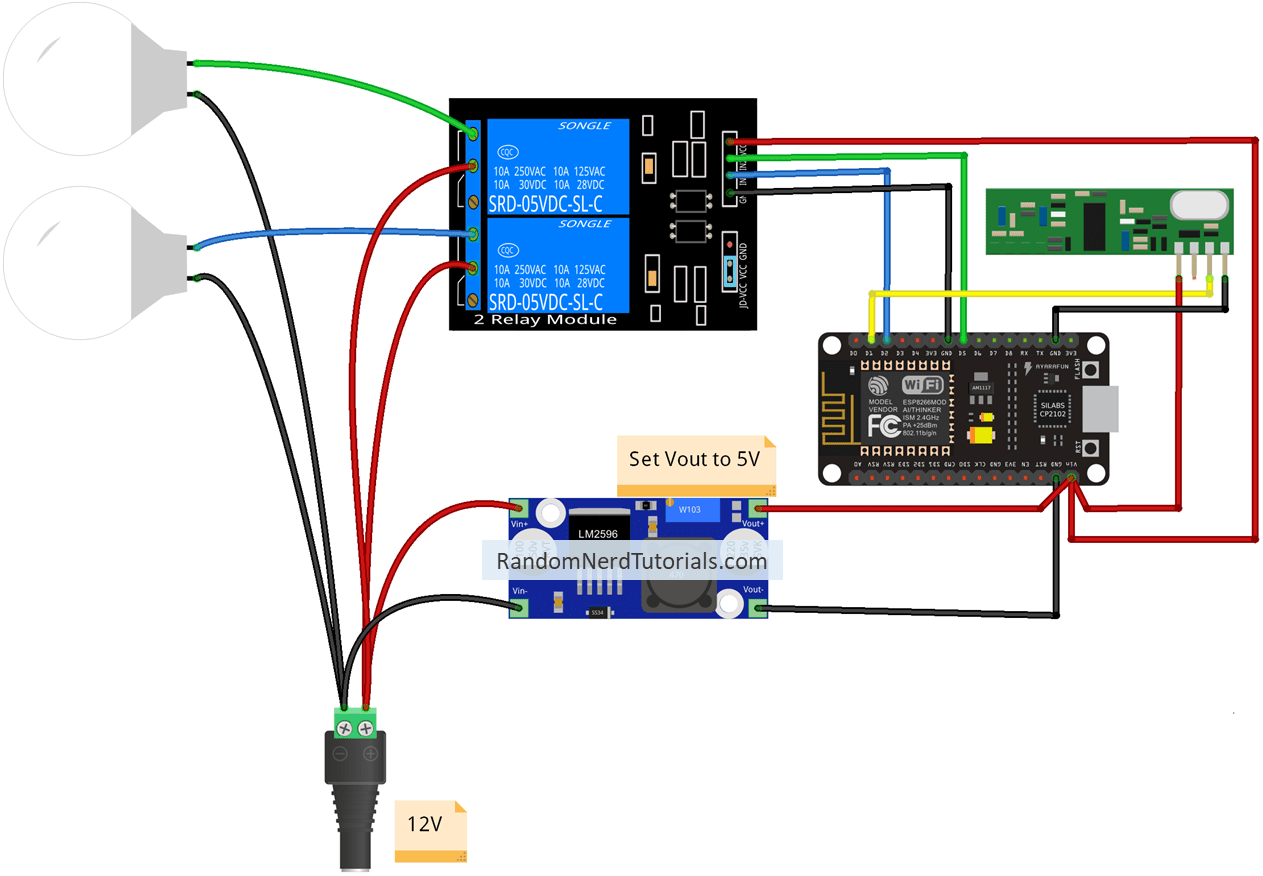Alexa Echo With Esp32 And Esp8266 Random Nerd Tutorials Bluetooth Controlled Home Electronic Appliances Block Diagram Schematic