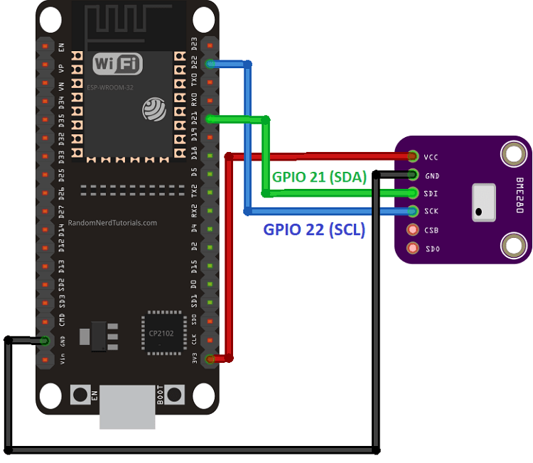 BME280 I2C wiring to ESP32 - circuit schematic diagram SDA SCL