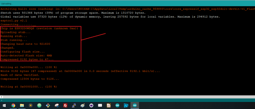 Arduino IDE done uploading ESP32 WiFiScan sketch