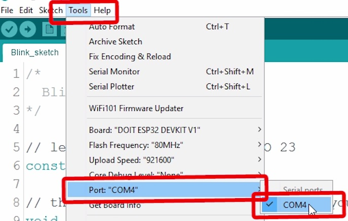 Arduino IDE select the ESP32 Port in Tools menu