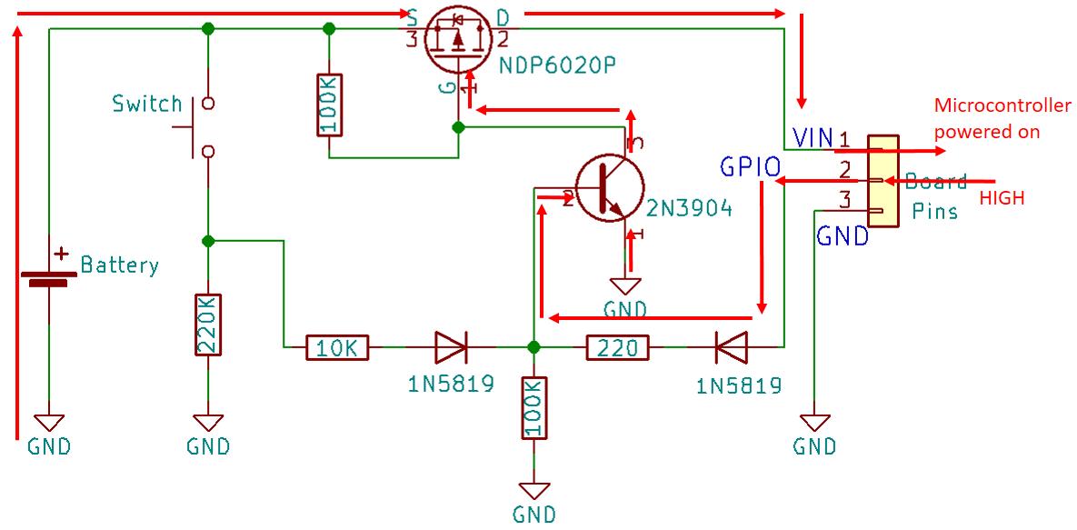 power latch circuit schematics esp32 esp8266 arduino