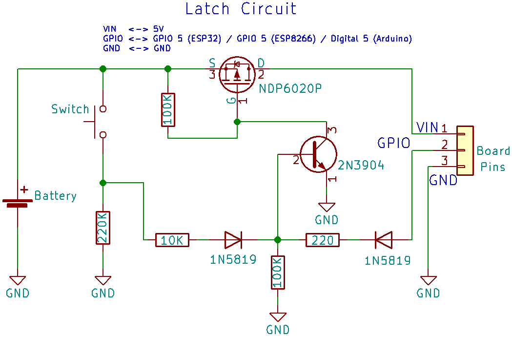 Latching Power Switch Circuit (Auto Power Off Circuit