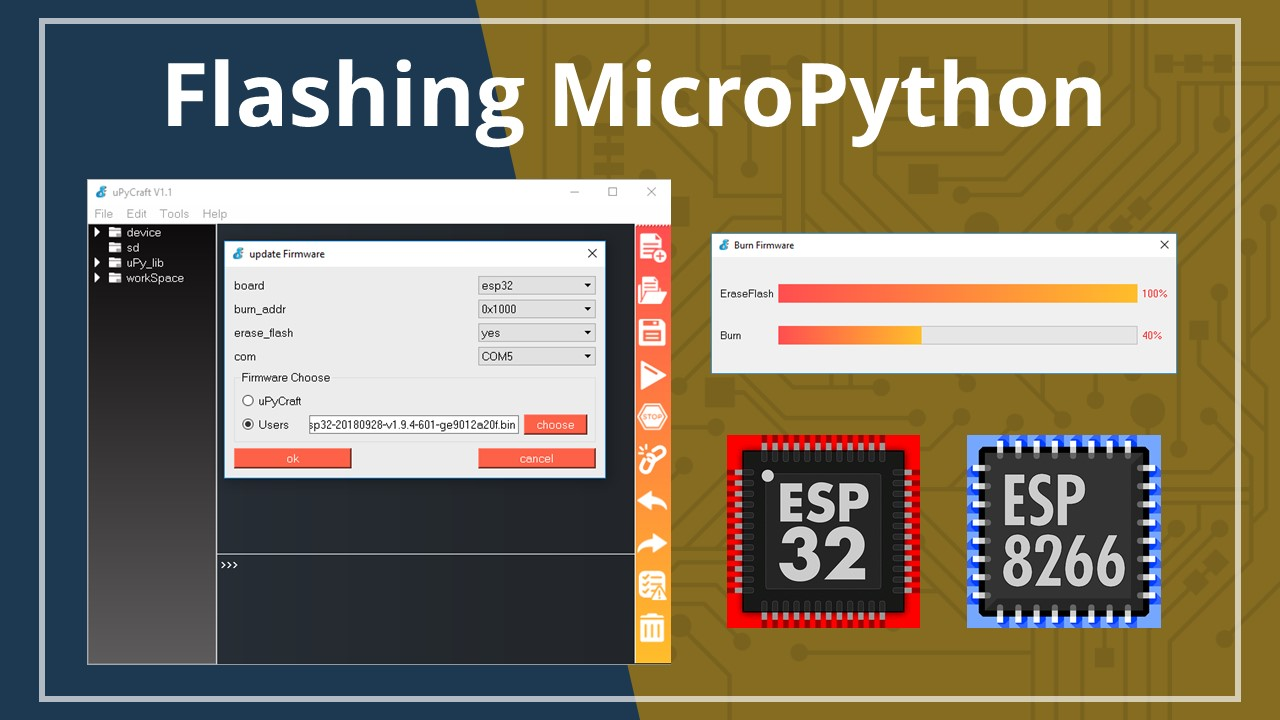Flash/upload micropython firmware to esp32 and esp8266 | random.