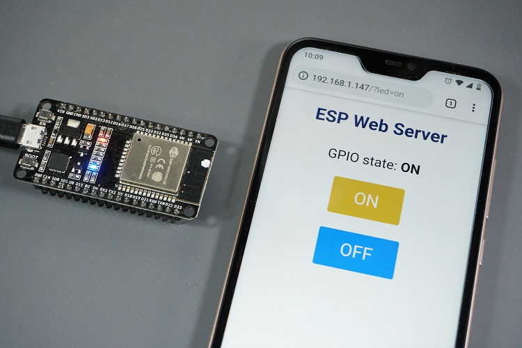 web server on smartphone and esp32