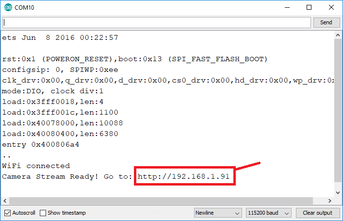 ESP32-CAM camera board IP address Arduino IDE Serial Monitor