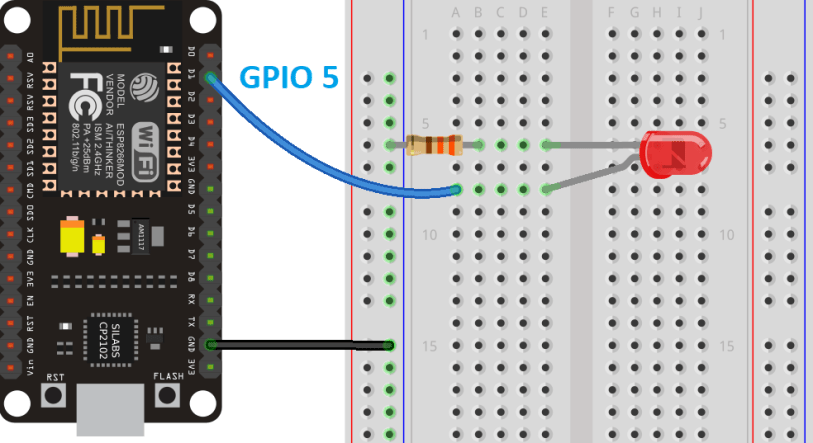ESP8266 PWM with MicroPython circuit to fade Dim LED