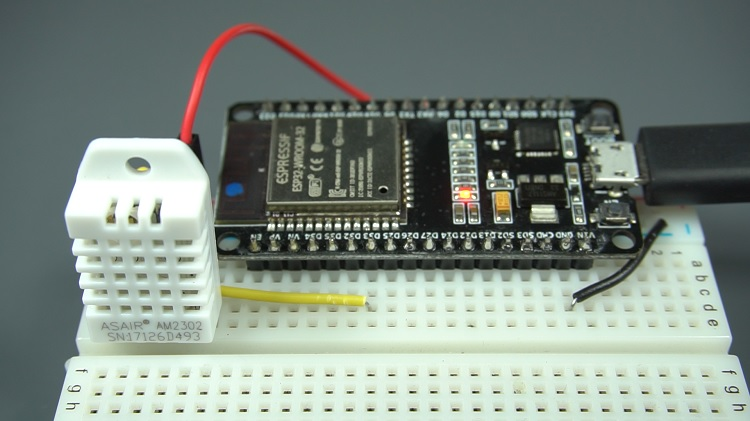 ESP32 DHT11 DHT22 Temperature and Humidity Arduino IDE Circuit Schematic