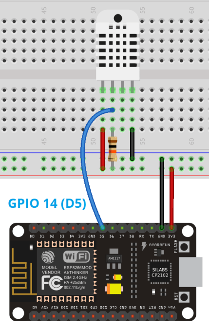 MicroPython ESP8266 with DHT11 DHT22 Web Server Temperature and humidity Circuit Schematic wiring