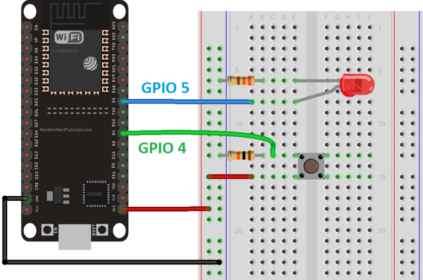 ESP32 Digital Input and Digital Output Schematic Circuit LED Pushbutton