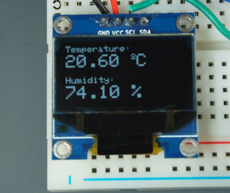 Display temperature and humidity DHT22 DHT11 on OLED display
