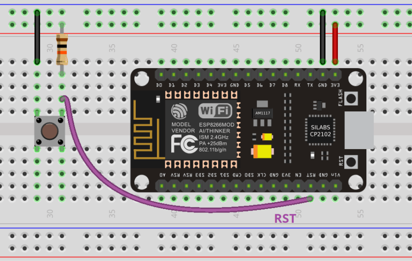 MicroPython ESP8266 NodeMCU External Wake Up deep sleep Circuit schematic