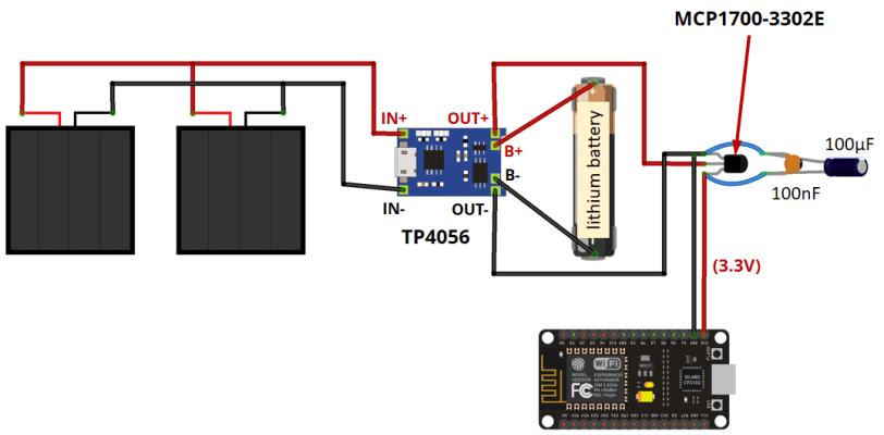 Power ESP8266 with Solar Panels circuit schematic
