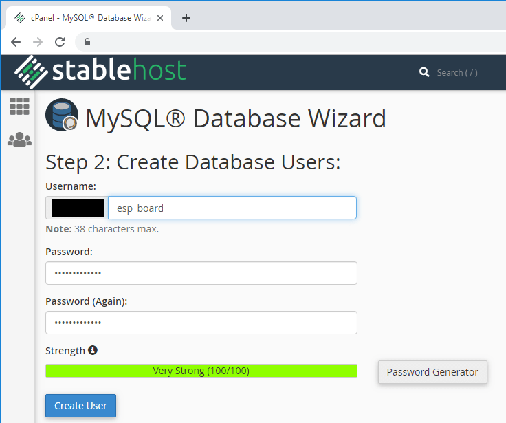 ESP32 ESP8266 CPanel Create MySQL Database User and Password