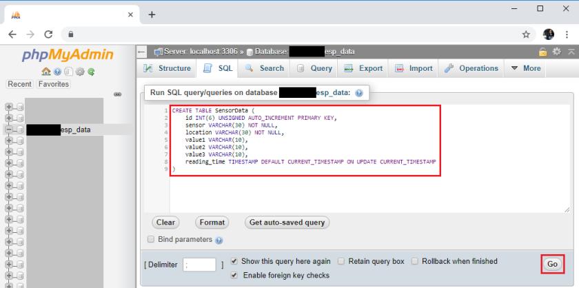 ESP32 ESP8266 PHPMyAdmin Create SQL Table