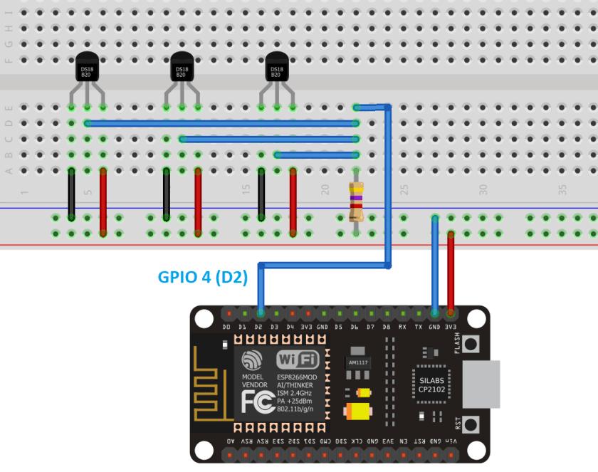 DS18B20 Multiple Temperature Sensors with ESP8266 Wiring Schematic Diagram