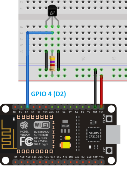 DS18B20 Temperature Sensor with ESP8266 Parasite Mode Wiring Schematic Diagram