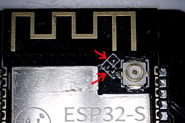 ESP32-CAM external and built-in antenna